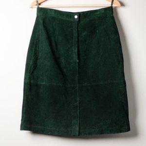Pelle 1990s Vintage Green Leather Skirt